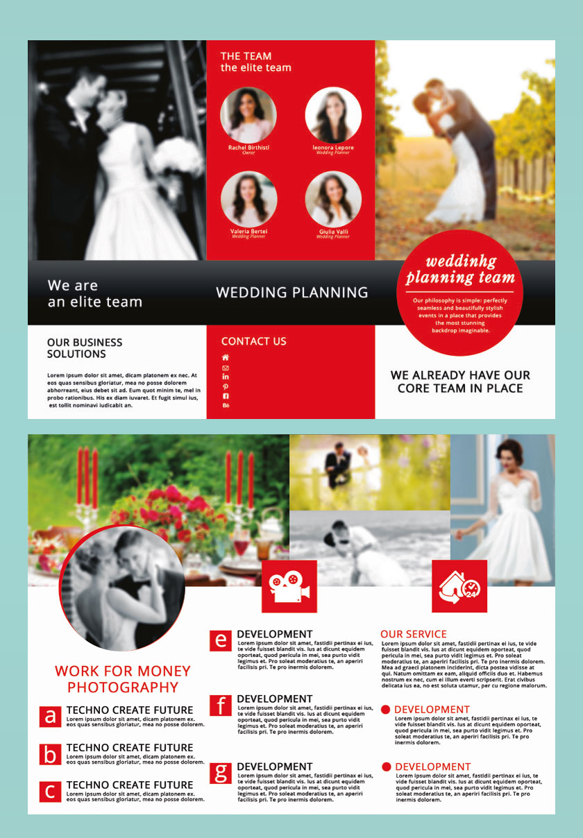 p695 - لایه باز بروشور سه لت معرفی آتلیه عروس، عکاسی و عروسی