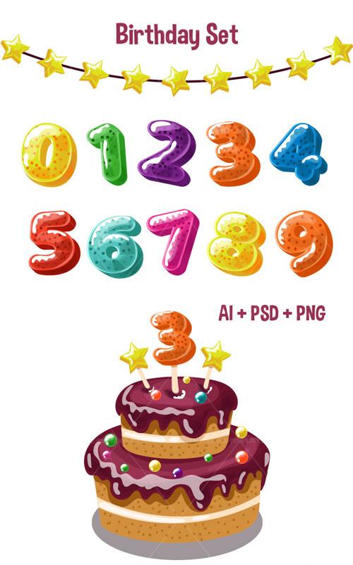 p699 - آبجکت های گرافیکی جشن تولد بصورت لایه باز، کیک، شمع و ریسه ستاره