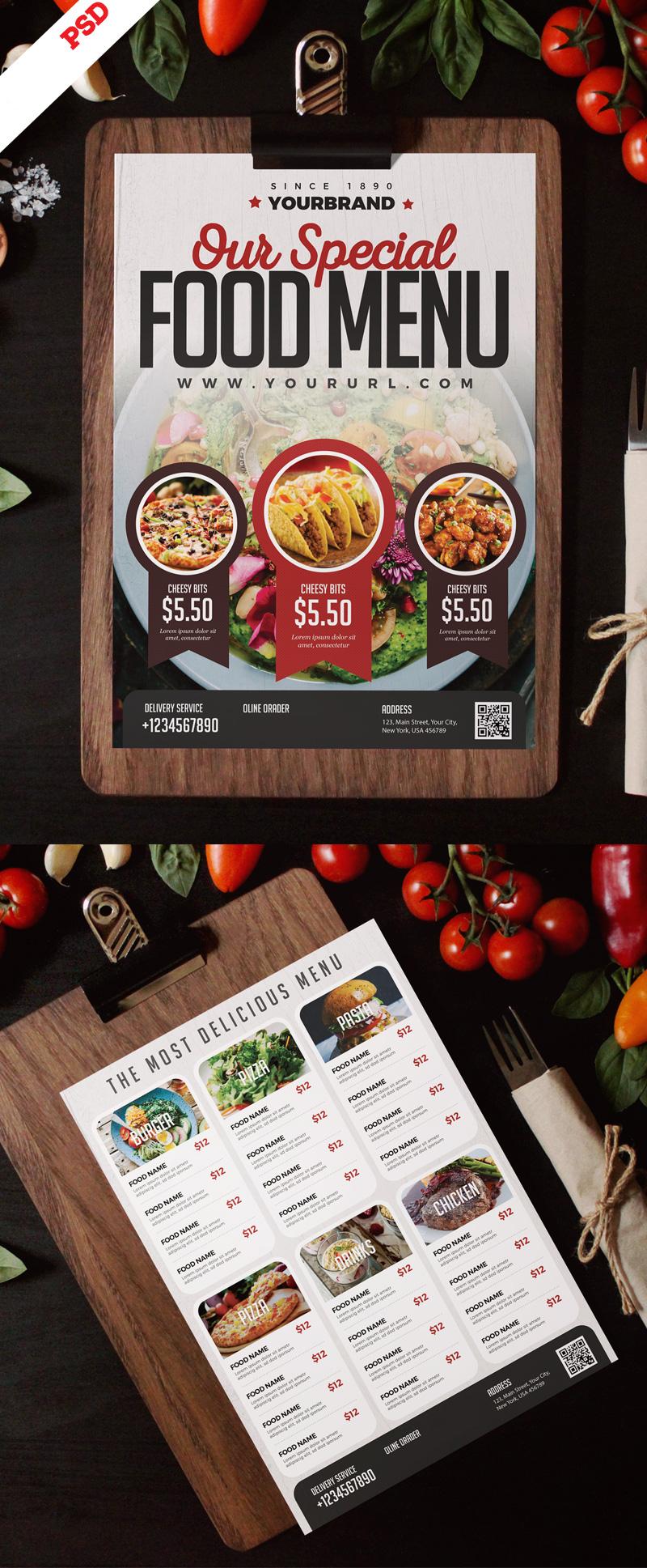 p705 - لایه باز منوی غذای رستوران فست فود و آشپزخانه غذای خوشمزه بصورت طرح آماده