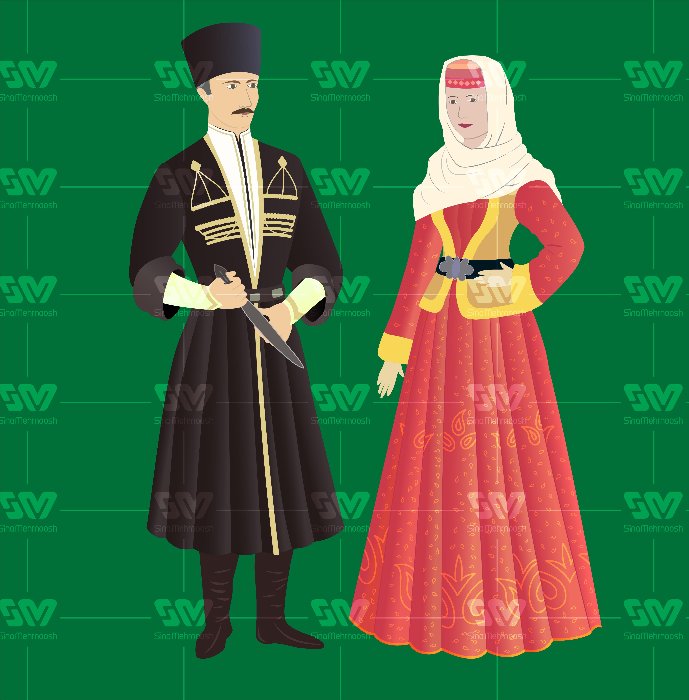 1لباس ترکی 01 - وکتور لباس محلی اقوام ایرانی