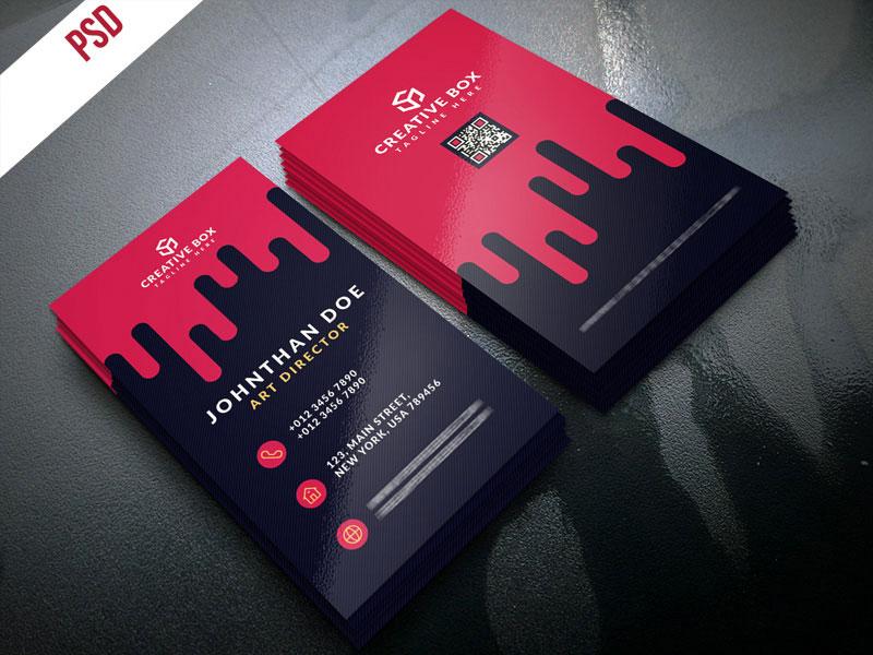 p389 - لایه باز کارت ویزیت رایگان خلاقانه ایستاده چکیدن خون یا رنگ قرمز گرافیکی