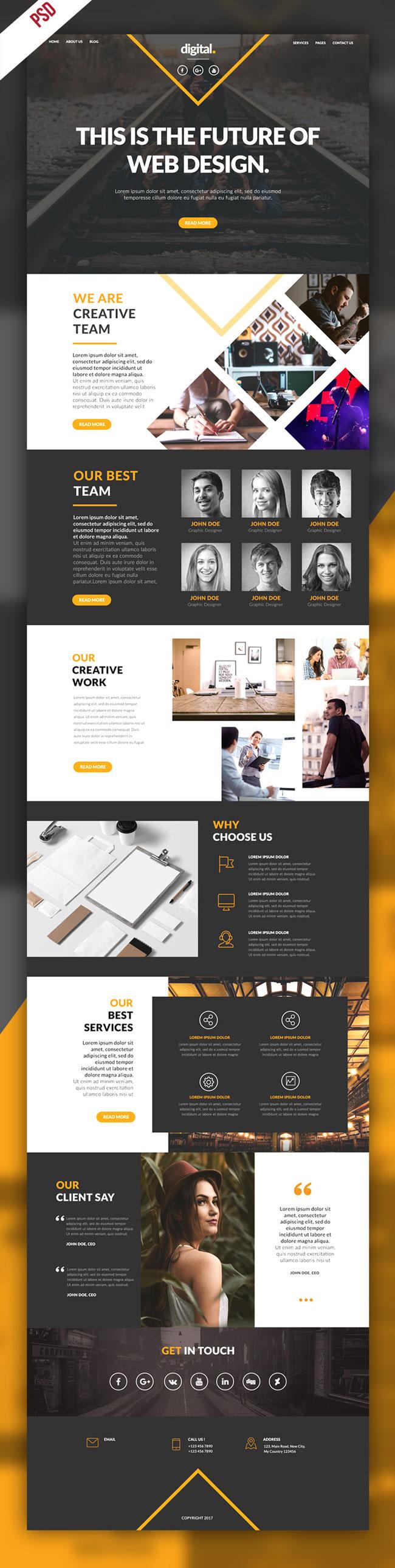 p390 - قالب لایه باز وب سایت تک صفحه ای شرکتی بسیار زیبا