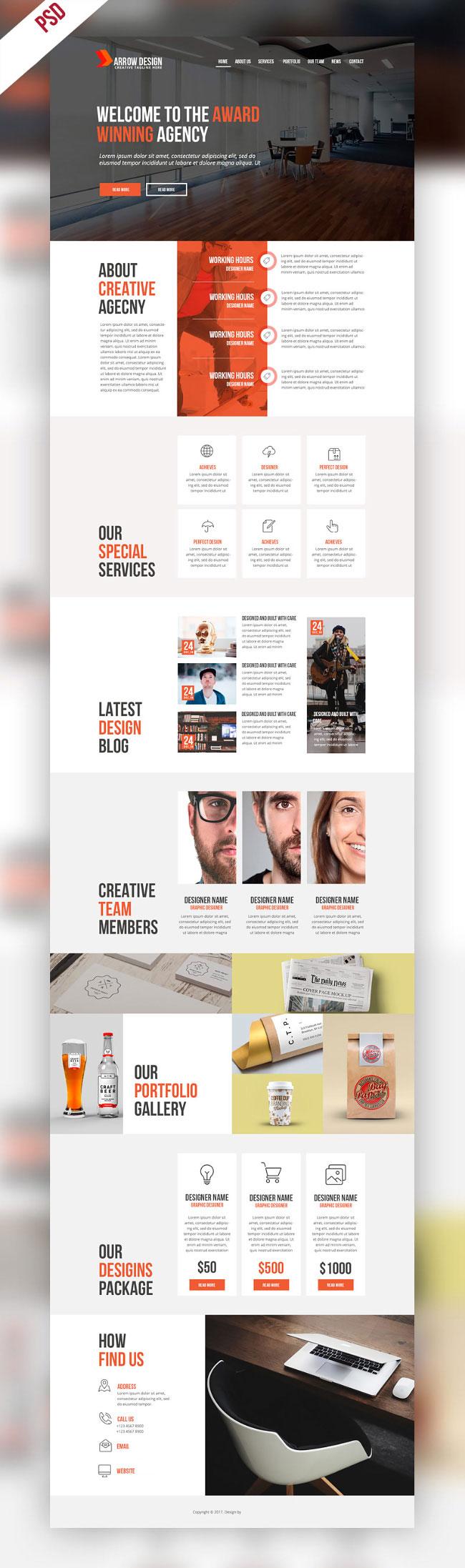 p422 - قالب آماده سایت شرکتی با معرفی تیم اجرایی و خدمات بصورت لایه باز