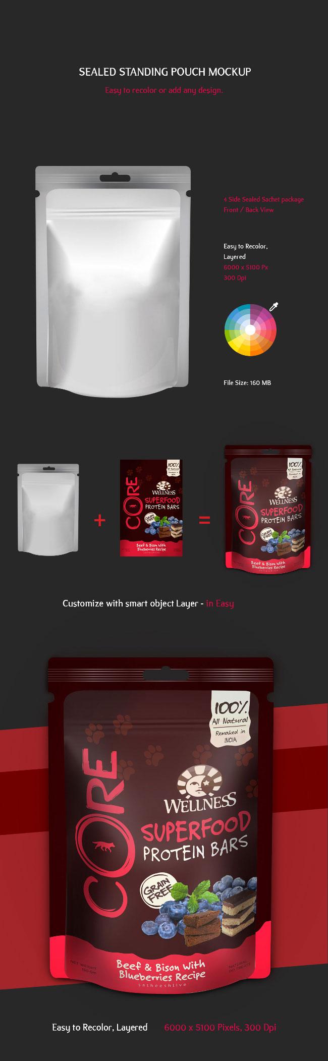 p423 - موکاپ ساندیس لایه باز پاکت آبمیوه یا ادویه جات مواد غذایی