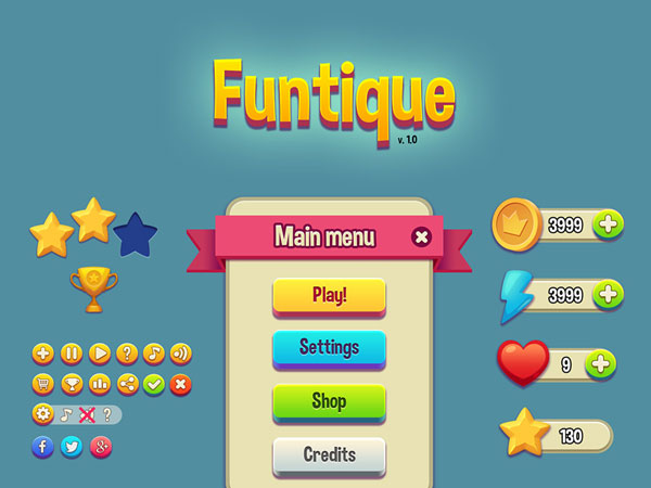 p547 - طرح آماده گرافیک بازی امتیازی اپلیکیشن موبایل بصورت فانتزی و کاربردی