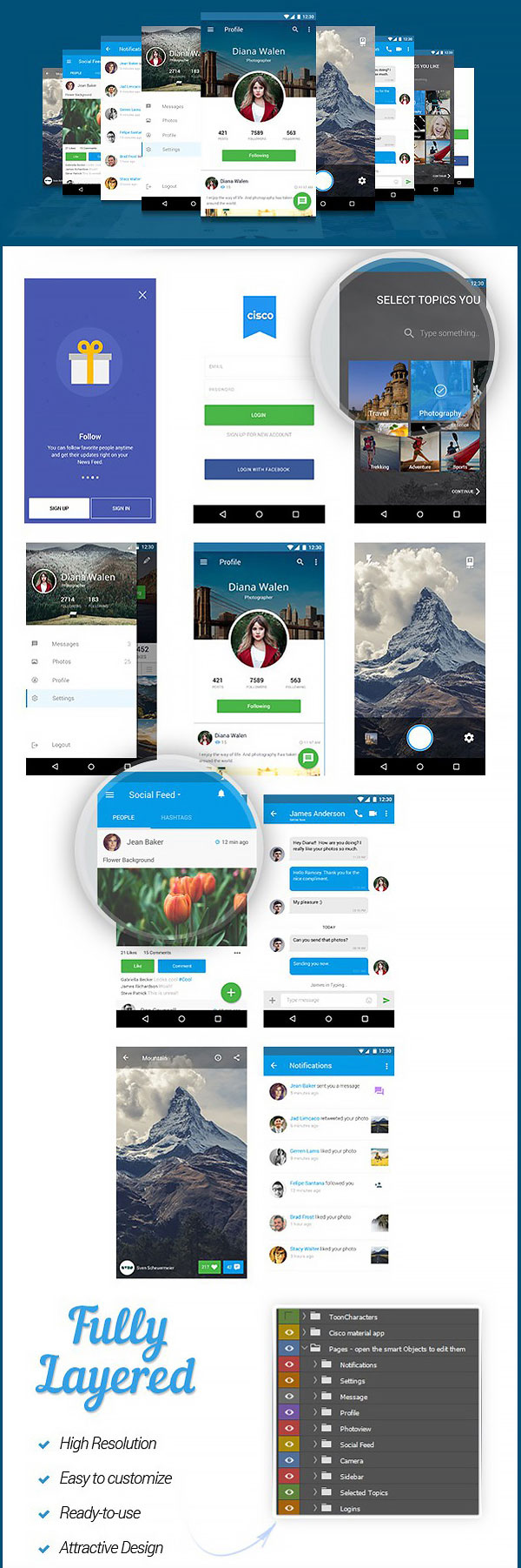 p549 - طرح آماده اپلیکیشن شبکه اجتماعی فوق العاده زیبا / اینترفیس UX و UI موبایل اندورید و ios با صفحات کاربردی و متنوع