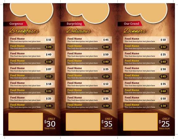 m257 - دانلود لایه باز کاتالوگ یا پوستر منوی رستوران،کافه،اغذیه فروشی،کافی شاپ
