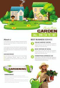 m338 204x300 - دانلود لایه باز تراکت یا پوستر باغبانی و گل کاری