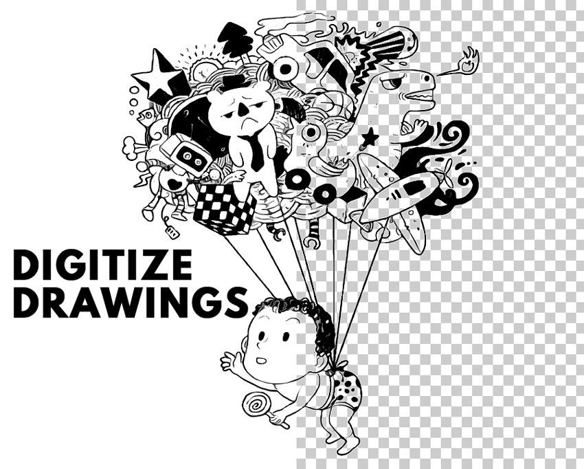 how to digitize a drawing - اکشن فتوشاپ لاین آرت
