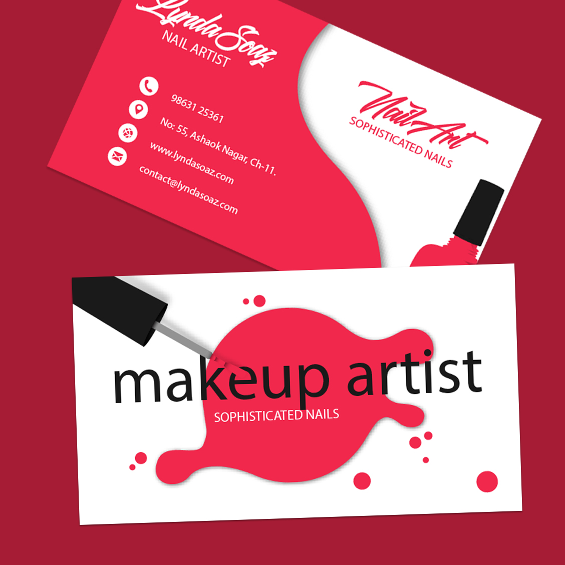 business card for makeup artist cards - آرایشی
