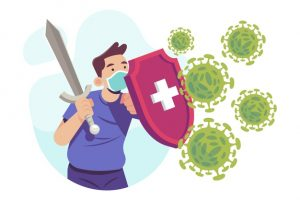 person fighting virus illustrated 52683 35833 300x200 - دانلود وکتور با موضوع مبارزه با کرونا