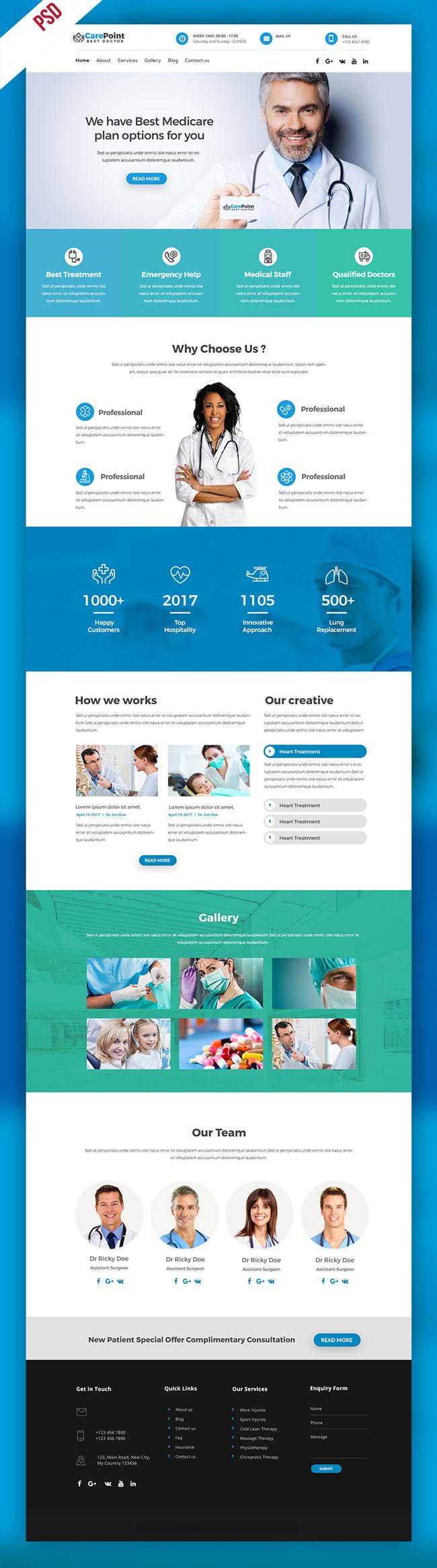 p399 - قالب لایه باز وب سایت تک صفحه ای پزشکی بیمارستانی بسیار زیبا