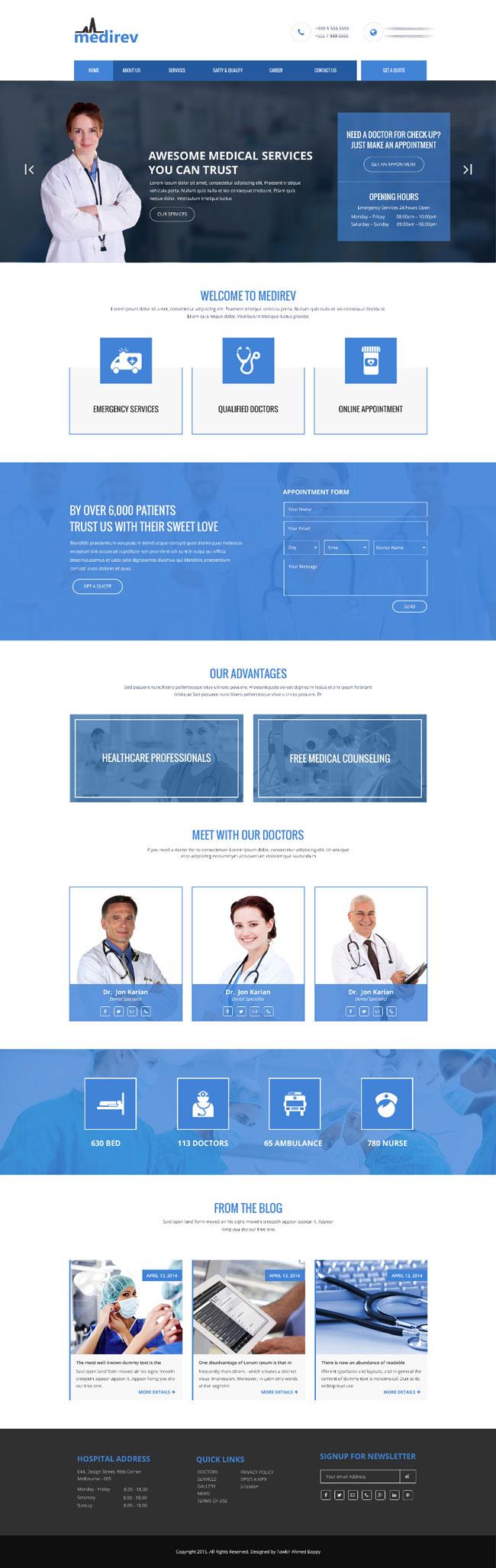 p407 - طرح آماده وب سایت تک صفحه ای پزشکی بیمارستانی بسیار زیبا