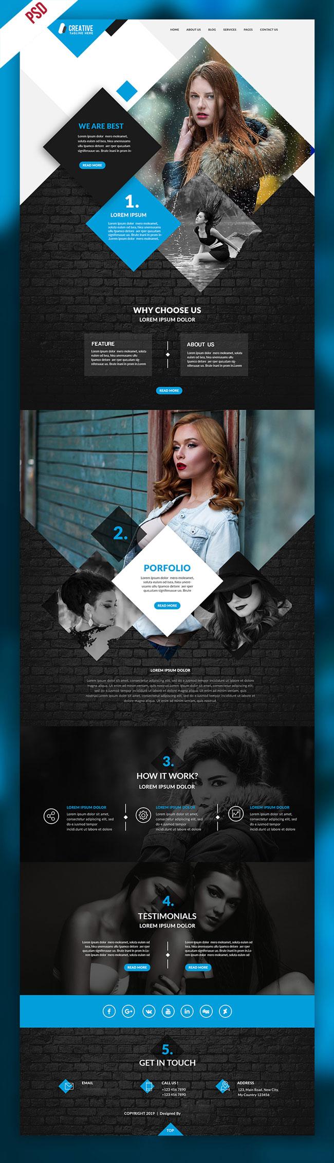 p663 - قالب لایه باز وب سایت زیبایی و پوشاک تک صفحه ای