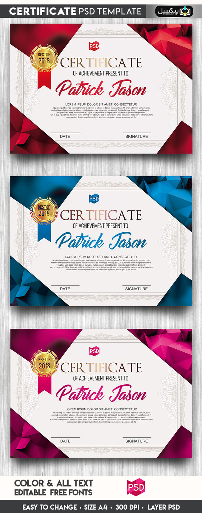 p427 - لایه باز گواهینامه همایش، سمینار و گواهینامه دوره آموزشی یا آکادمی خلاقانه