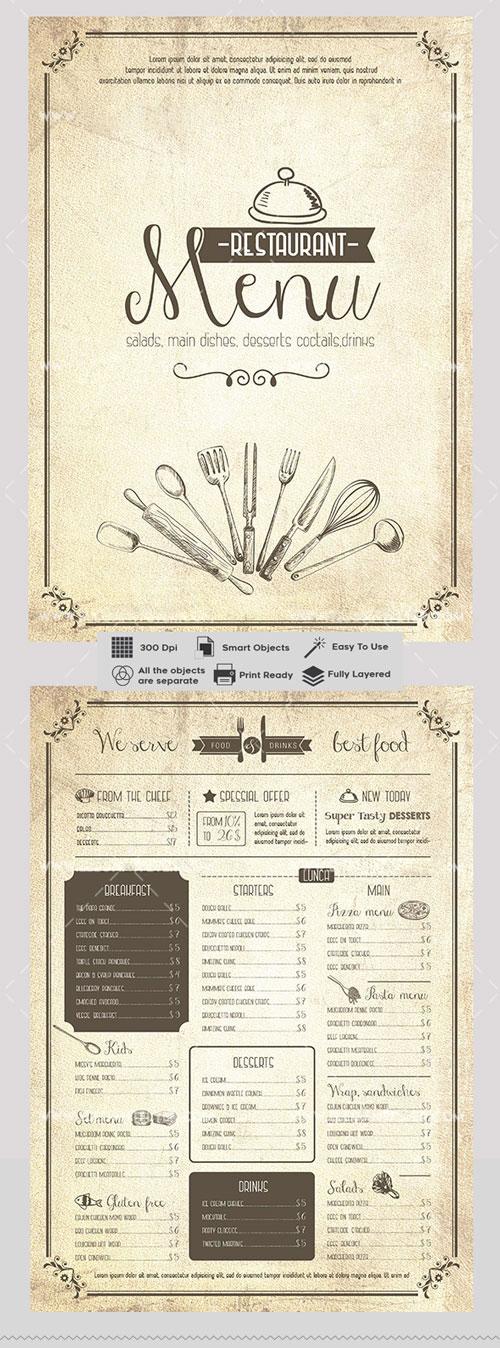 p428 - لایه باز منوی بی نظیر رستوران فست فود و کترینگ های آشپزخانه کلاسیک با کیفیت بی نظیر
