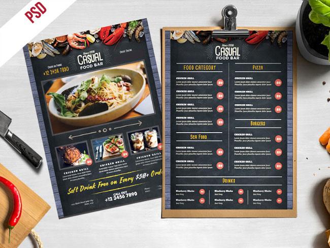 p437 - طرح آماده منوی بی نظیر رستوران فست فود و کترینگ های آشپزخانه مدرن