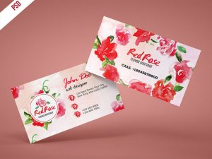 p446 300x225 - لایه باز کارت ویزیت با گل های قرمز رز بهاری بسیار زیبا و چشم نواز
