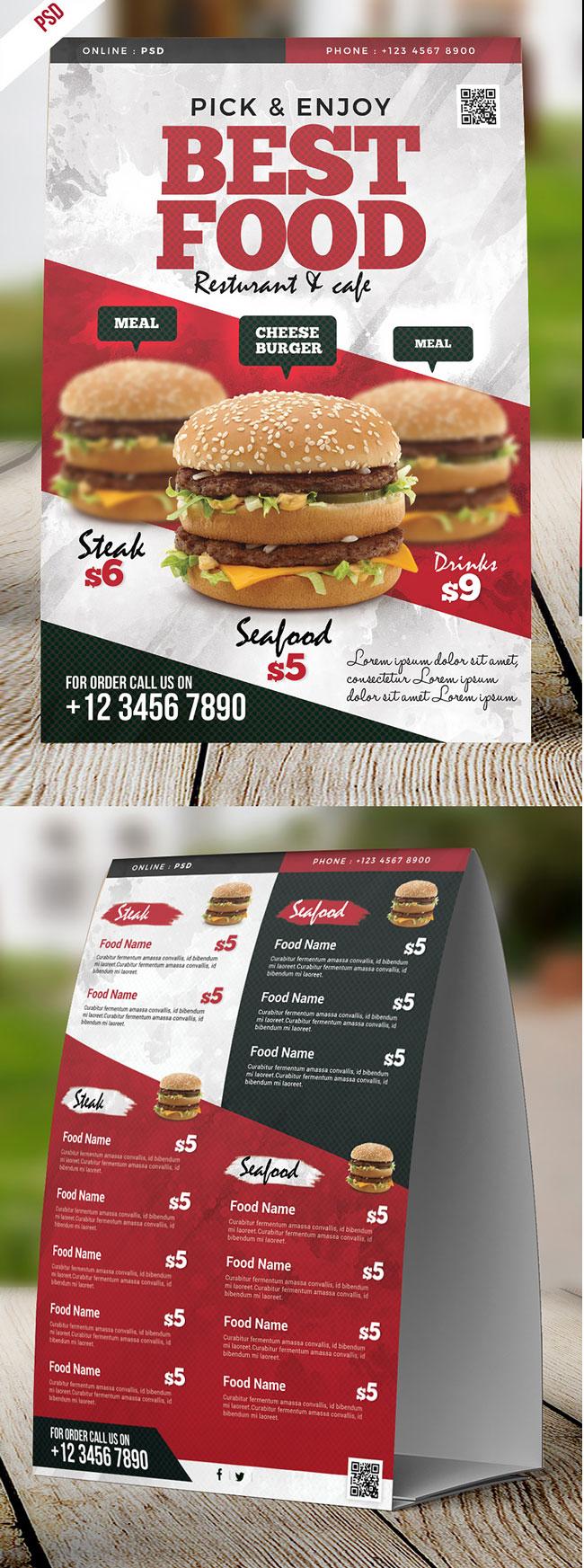 p451 - طرح آماده منوی بی نظیر رستوران فست فود بصورت چاپ دو رو با عکس چیزبرگر خوشمزه