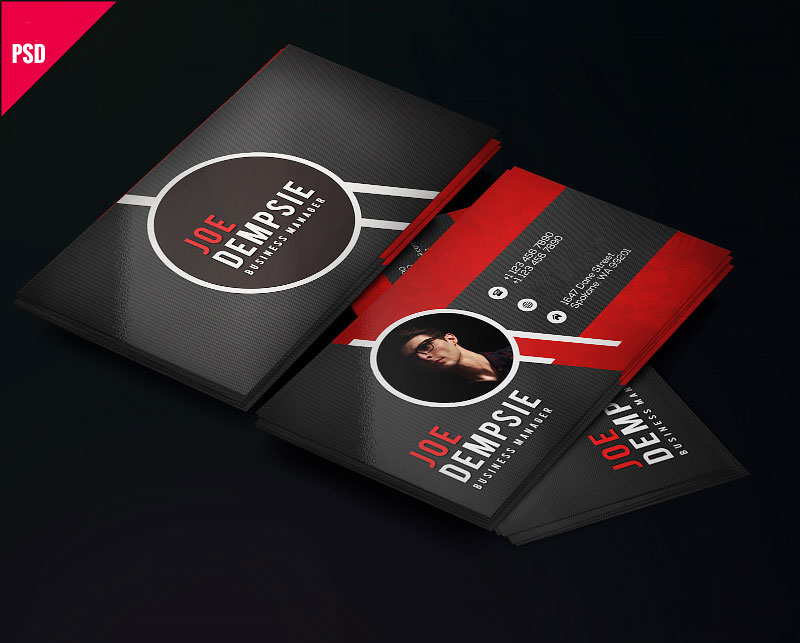 p456 - لایه باز کارت ویزیت شخصی خلاقانه بسیار زیبا و مدرن با رنگ قرمز و مشکلی جذاب و امکان درج عکس