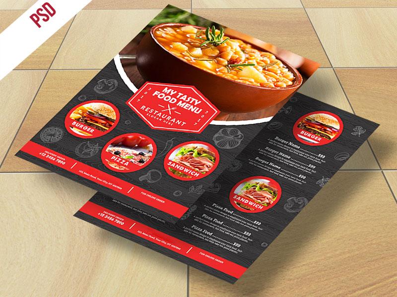 p483 - طرح آماده منو غذای رستوران کترینگ یا فست فود بصورت چاپ دو رو (بدون تصاویر)