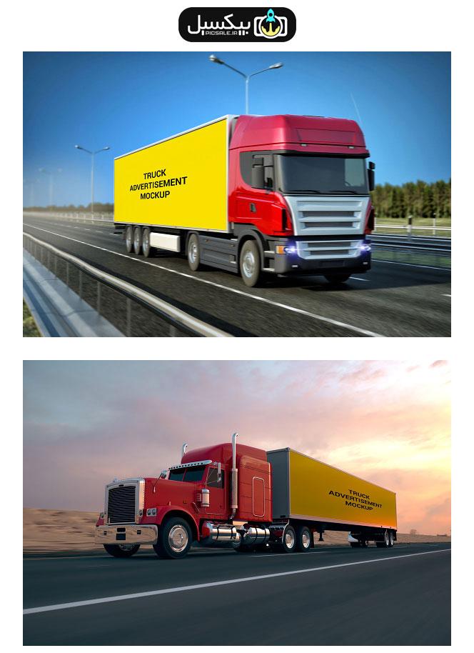 p491 - موکاپ کانتینر تریلی ویژه شرکت های ترانزیتی و آژانس های تبلیغاتی با حرکت در جاده
