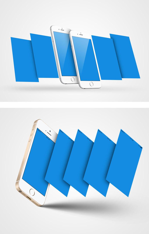 p500 - موکاپ معرفی اپلیکیشن موبایل روی گوشی همراه بصورت چند صفحه ای و سه بعدی بسیار زیبا و کاربردی