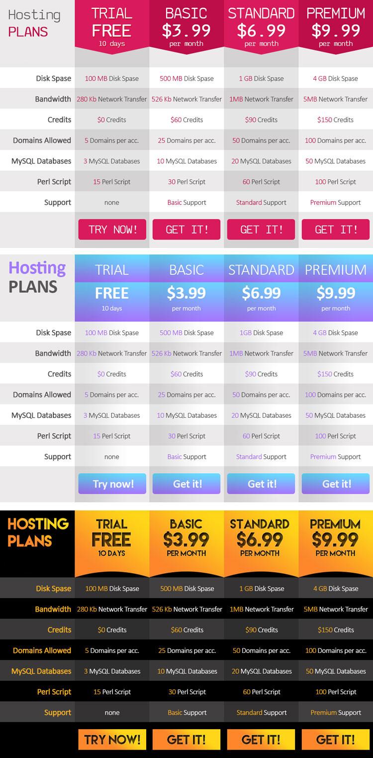 p539 - قالب لایه باز پلن های نمایش هاستینگ یا دیگر خدمات اینترنتی با گزینه های مختلف / 3 رنگ