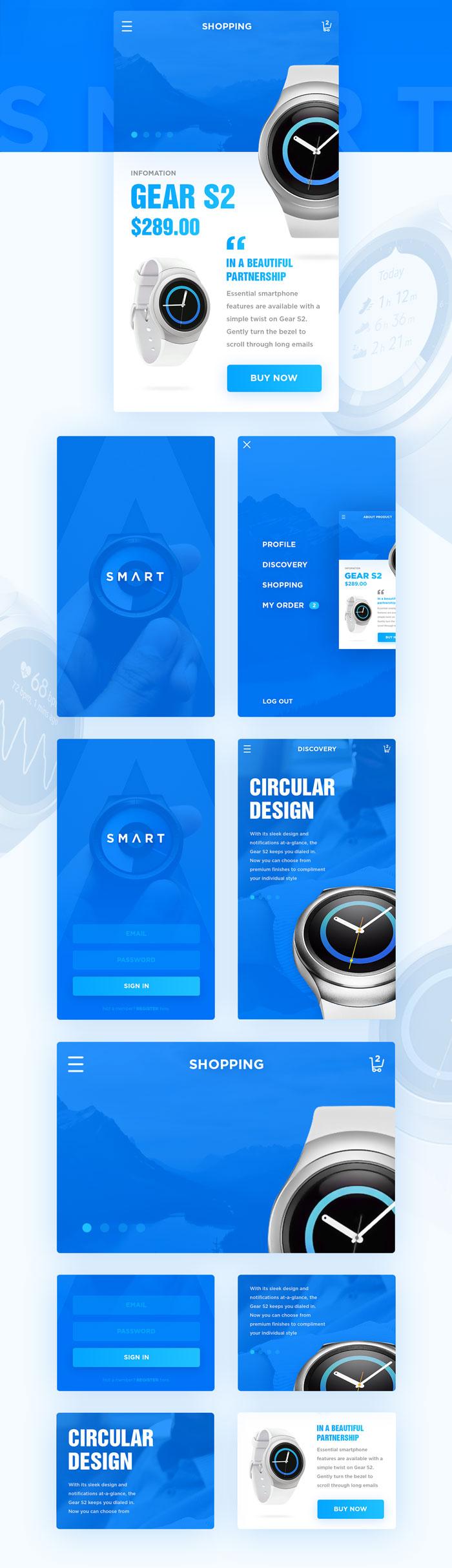p548 - قالب اپلکیشن فروشگاهی آبی / اینترفیس UX و UI موبایل اندورید و ios با صفحات خرید، عضویت و ورود