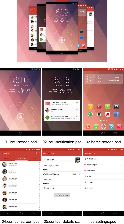 p553 - لایه باز طرح اپلیکیشن اینترفیس UX و UI موبایل اندورید و ios با صفحات کاربردی و متنوع