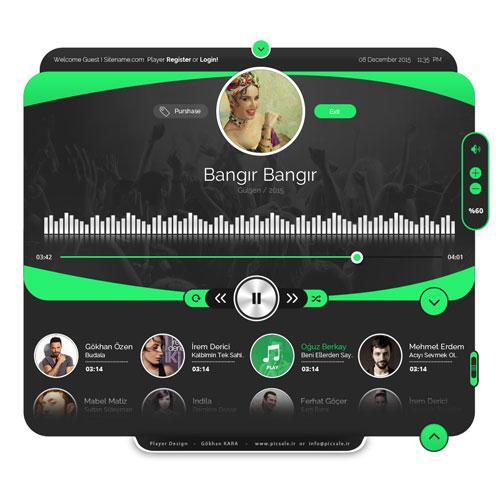 p555 - لایه باز قالب پخش موسیقی با دکمه های کنترلی صدا ویژه اپلیکیشن اندرویدی و نرم افزار های ویندوز و ios