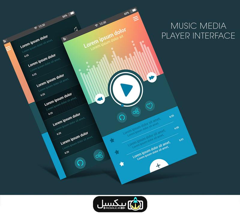 p557 - طرح آماده پخش موسیقی با دکمه های کنترلی صدا ویژه اپلیکیشن اندرویدی و ios