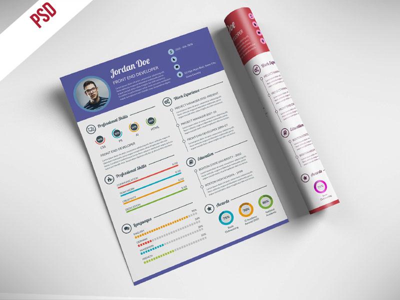 p565 - لایه باز CV رزومه شخصی گرافیست ها با بخش های مختلف جهت معرفی توانمندی ها با تصویر دایره ای و میله ای