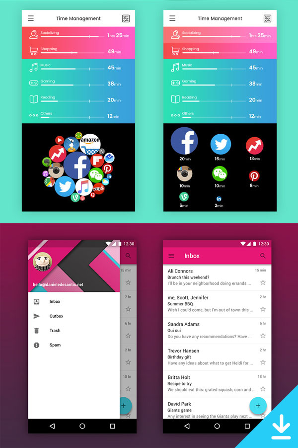 p571 - لایه باز اپلیکیشن موبایل با موضوع شبکه های اجتماعی در دو طرح مختلف
