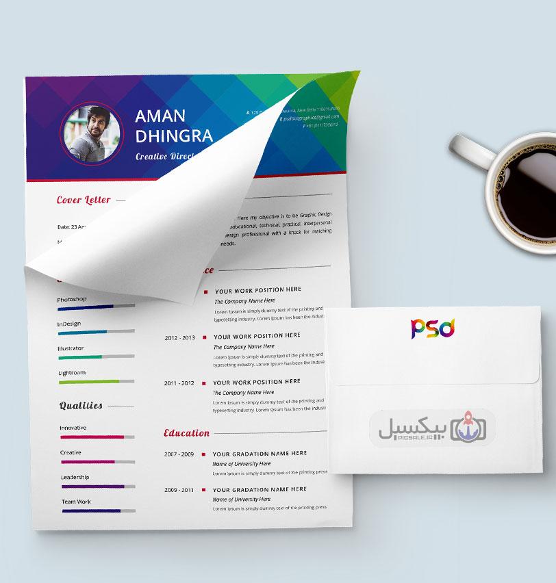 p576 - لایه باز CV رزومه شخصی گرافیست ها با بخش های مختلف جهت معرفی توانمندی ها با امکان درج تصویر پرسنلی