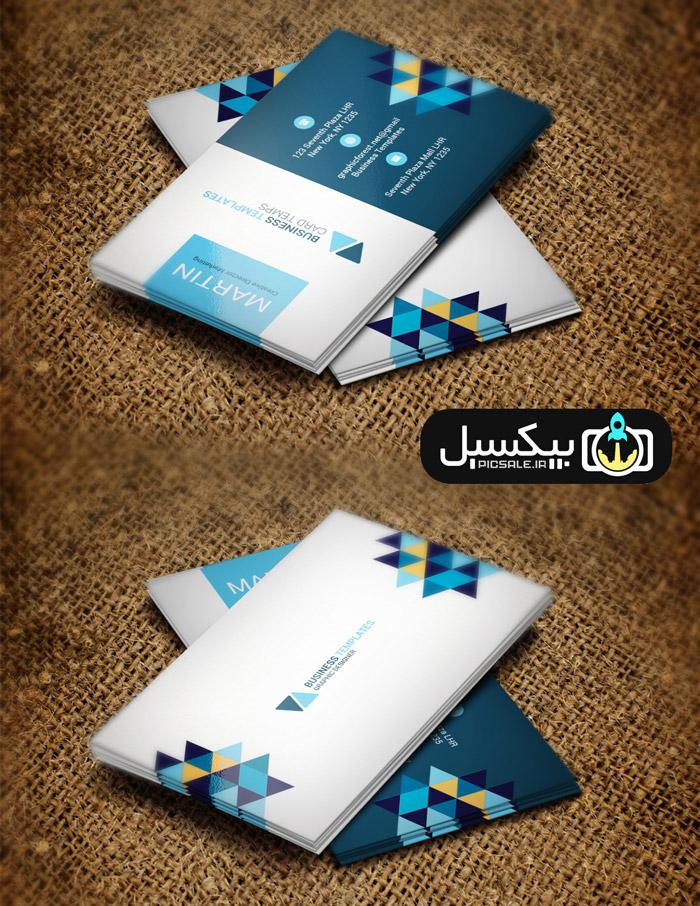 p586 - لایه باز کارت ویزیت بازرگانی مثلثی مدرن مشکی، آبی، زرد و سفید بسیار زیبا و خلاقانه