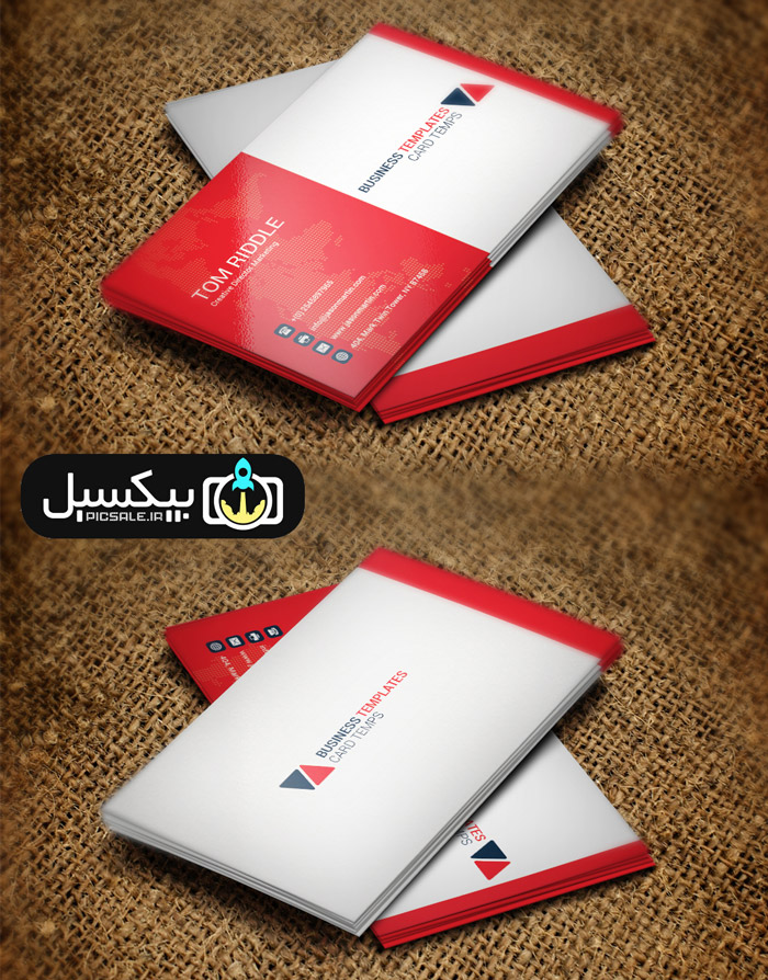 p588 - قالب کارت ویزیت بازرگانی گلوبال مدرن مشکی، قرمز و سفید بسیار زیبا و شیک