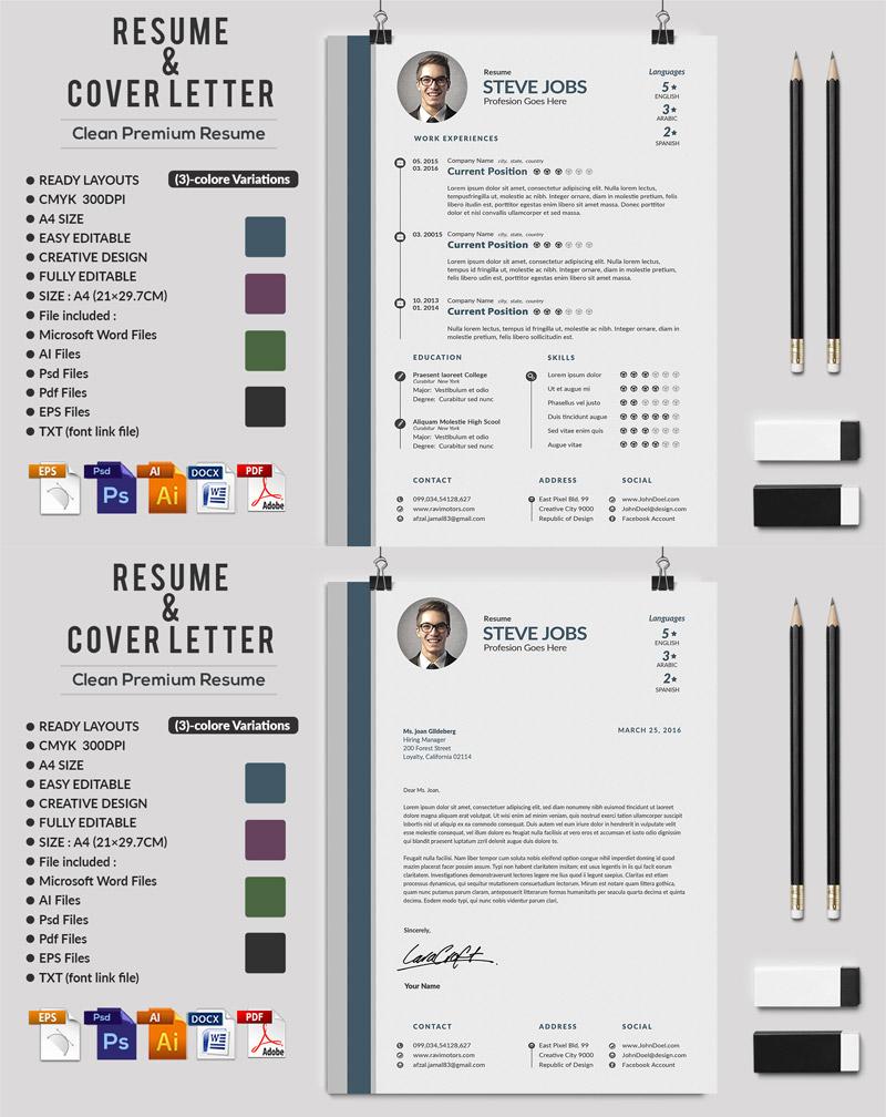 p593 - لایه باز CV رزومه حرفه ای با بخش های مختلف جهت معرفی توانمندی ها با دو طرح رزومه و سربرگ نامه