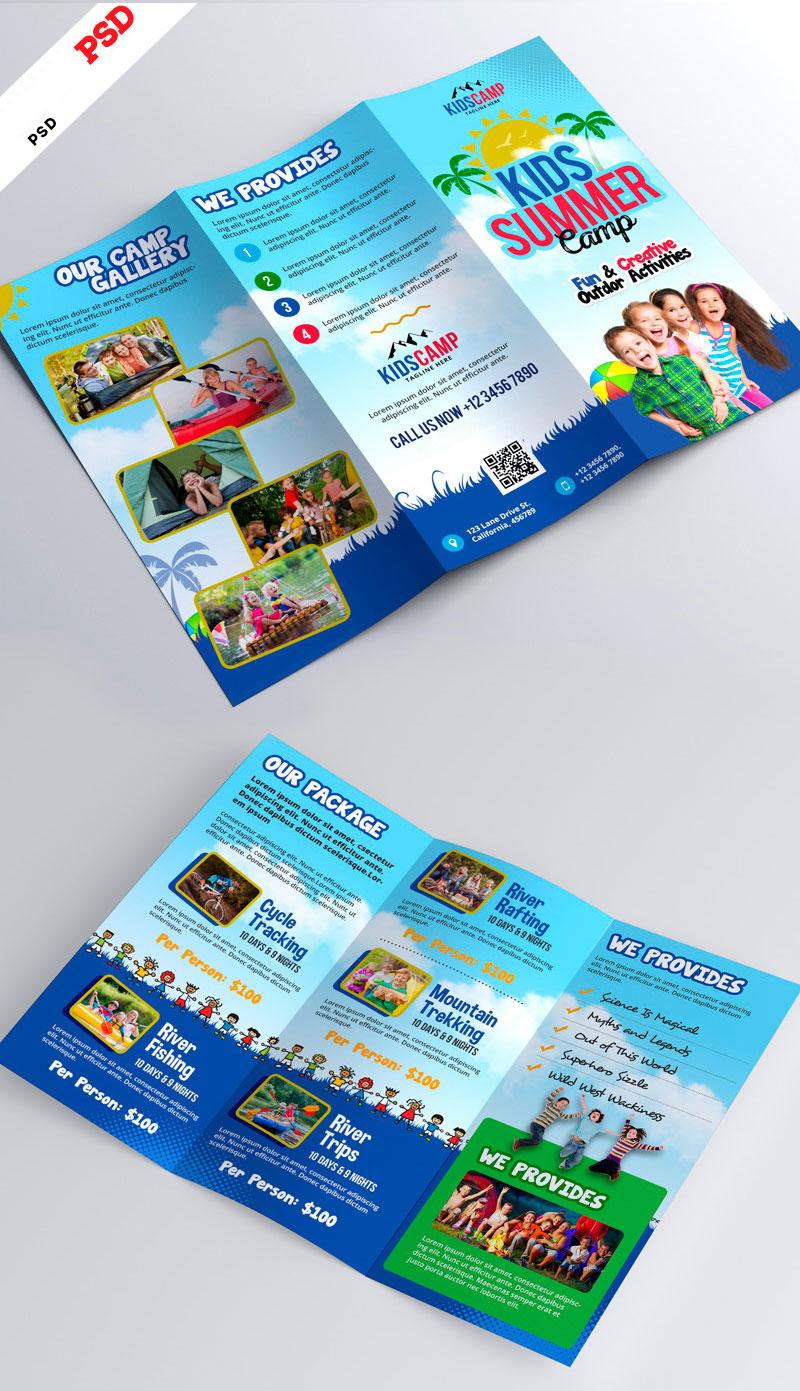 p672 - بروشور لایه باز سه لت معرفی خدمات مهدکودک آموزشی با رنگ بندی جذاب و شاد کودکانه