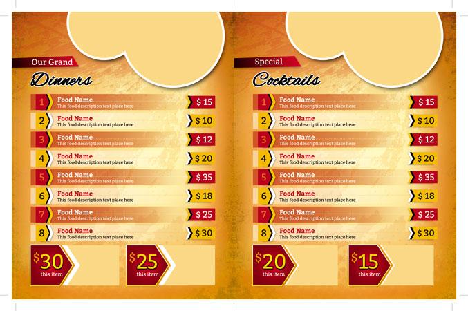 m255 - دانلود لایه باز تراکت یا پوستر منوی رستوران،کافه،اغذیه فروشی،کافی شاپ